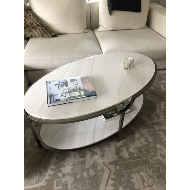 Metal Contemporary Oval Faux Marble and Steel Two Tier Coffee Table For Sale - Image 7 of 11