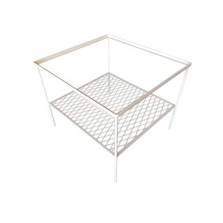 Iron and Mesh Low with Glass Top Outdoor/Patio Cube Coffee Table by Woodard For Sale