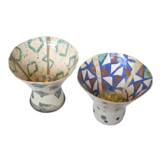 Rustic Patterned Pottery Vases - A Pair