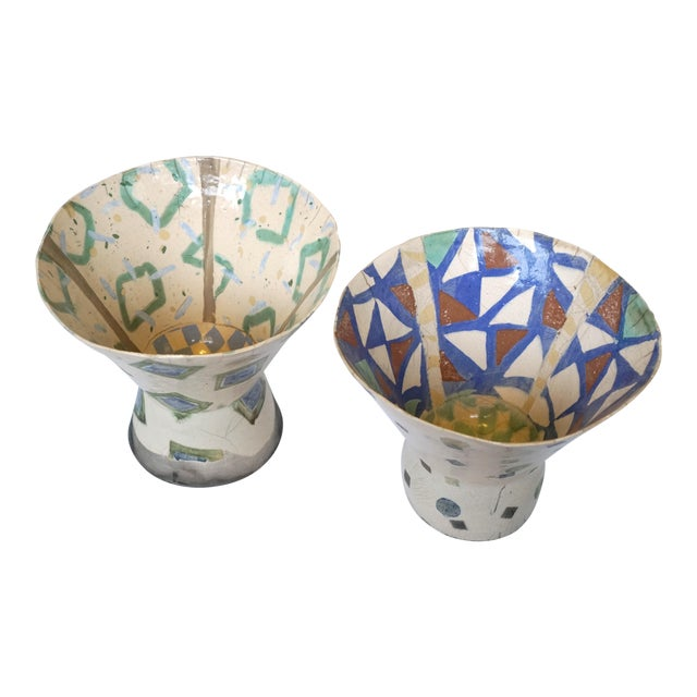 Rustic Patterned Pottery Vases - A Pair - Image 1 of 8