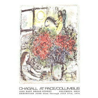 "Marc Chagall La Chevauchee 31"" X 22"" Lithograph 1979 Modernism Multicolor, White Flowers For Sale"