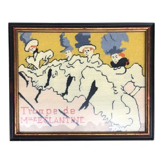 "Vintage Needlepoint Picture Henri Toulouse Lautrec"" Troupe De MueEclantine"" For Sale"