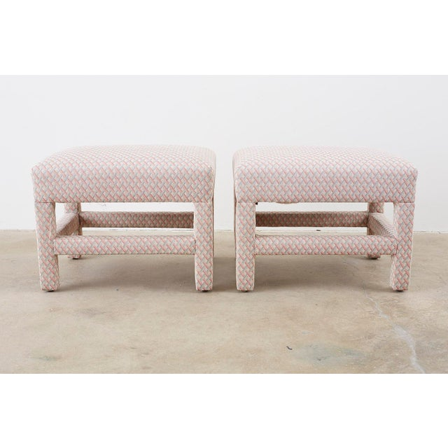 Mid-Century Modern Milo Baughman Style Parsons Ottoman Benches - a Pair For Sale - Image 3 of 12