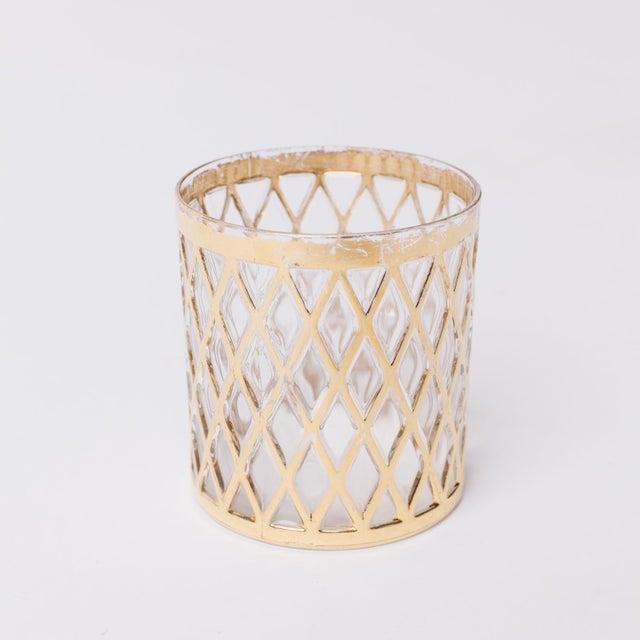 Mid-Century Modern Vintage Gold Lowball Glasses - Set of 9 For Sale - Image 3 of 3