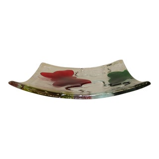 Federica Marangoni for ITRE Murano Handcrafted Glass Plate, Vintage For Sale