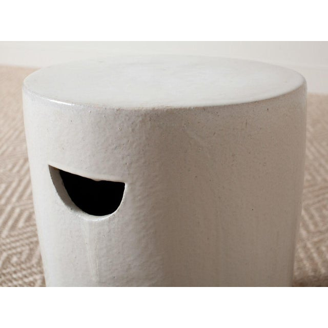 Modern White Ceramic Stool For Sale - Image 4 of 5