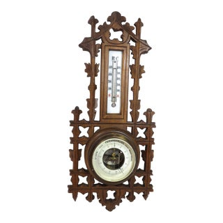 Antique Hand Carved Wood Wall Barometer/Thermometer For Sale