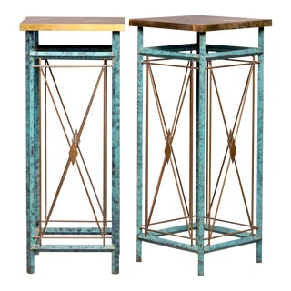 Pair Neoclassical Style Verde Green Metal Statue Stands For Sale