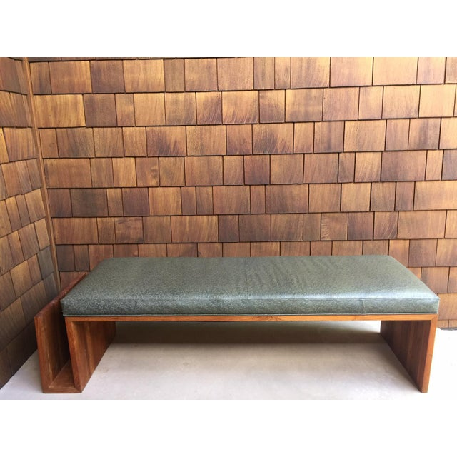 1960s Vintage Walnut Bench With Magazine Holder For Sale - Image 11 of 11