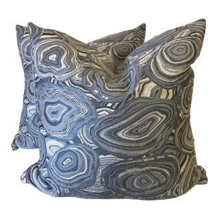 "Kravet Blue Agate 22"" Pillows-A Pair For Sale"