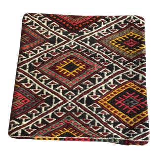 1980s Embroidered Turkish Kilim Pillow For Sale