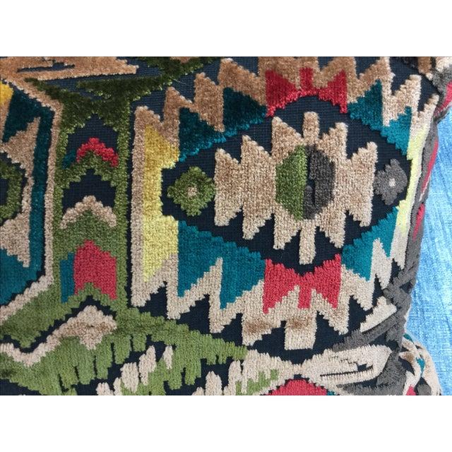 Art Deco-Style Tribal Velvet Pillow - Image 5 of 7