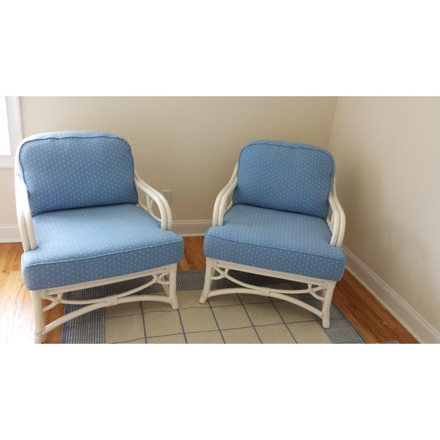 Asian Ficks Reed Blue Armchairs - A Pair For Sale - Image 3 of 4