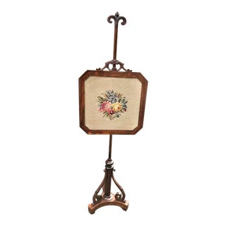 Antique Mid 19th Century Rosewood Victorian Fire or Pole Screen For Sale