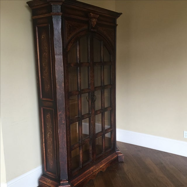 Traditional Wooden Armoire with Beveled Glass - Image 3 of 5