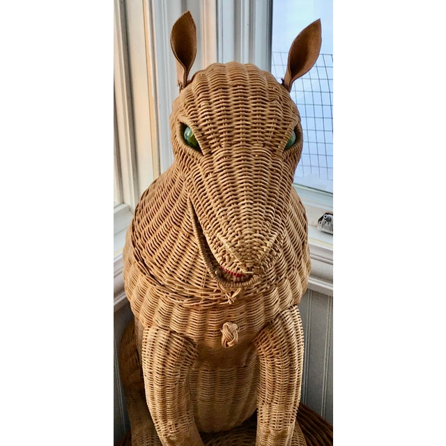 1950s 1950s Vintage Woven Wicker Dog Basket Glass Marble Eyes For Sale - Image 5 of 7