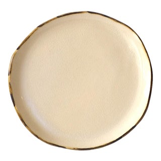 """Contemporary Handmade Cream Dessert Plate with """"Stained"""" Rim by FisheyeCeramics For Sale"""