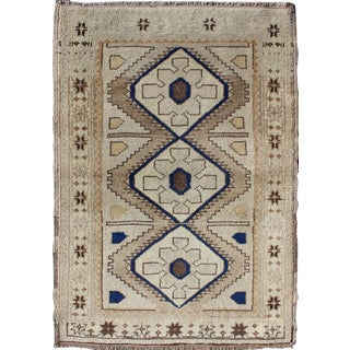 Vintage Turkish Oushak Rug With Geometric Design in Blue, Taupe and Sand For Sale