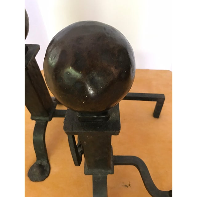 1920s Antique Cannonball Cast Iron Fireplace Andirons Fire Dogs For Sale - Image 5 of 6