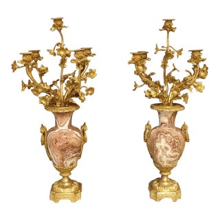 Late 19th Century French Bronze Dore Candelabras - a Pair For Sale