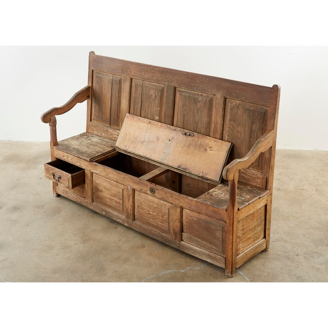 19th Century English Georgian Oak Box Settle Bench For Sale - Image 4 of 13