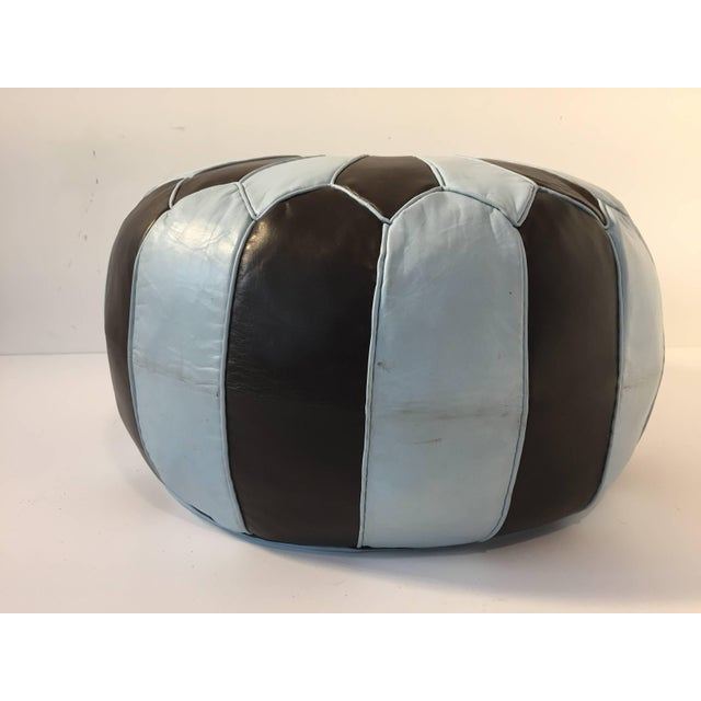 Leather Moroccan Round Leather Pouf Hand-Tooled in Marrakesh For Sale - Image 7 of 10
