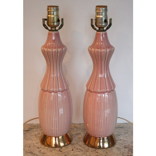 Mid-Century Pink Ceramic Lamps - A Pair - Image 2 of 4