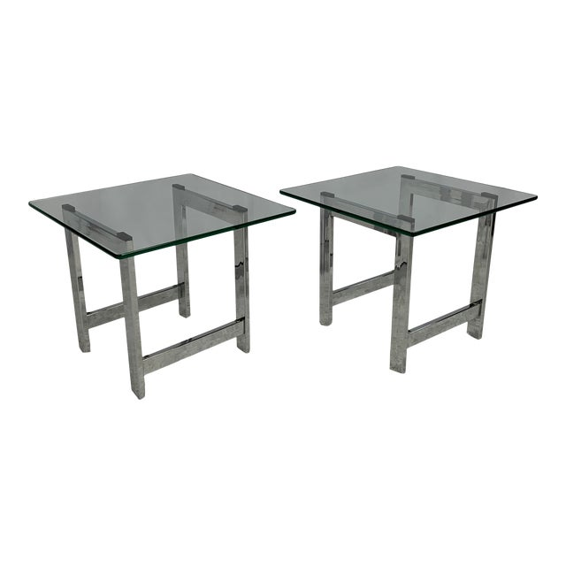 Milo Baughman Style Mid-Century Chrome and Glass Side End Tables -- a Pair For Sale