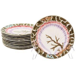 19th Century Wedgwood Seaweed Majolica Plates England - Set of 12 For Sale