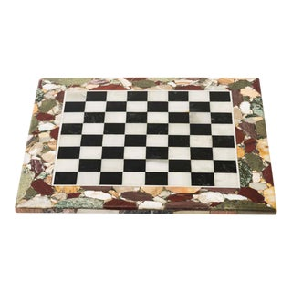 1960s Pietra Dura Specimen Framed Italian Marble Game Board For Sale
