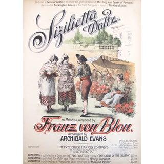 Antique Art Nouveau Music Sheet, Sizilietta Waltz For Sale