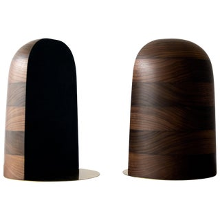 Bookends in Walnut and Brass - a Pair For Sale