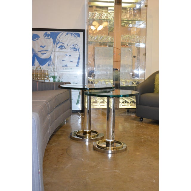 Two Lucite, Brass and Chrome Charles Hollis Jones Occasional Side Tables - Image 10 of 11