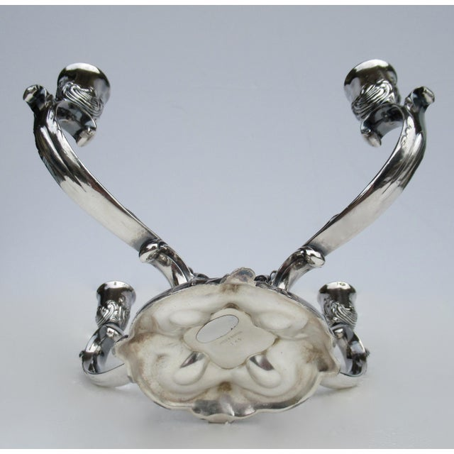 C1960's-70's Vintage Georgian-Style Gorham Silverplate Candelabra, 5-Candle Holder Centerpiece For Sale - Image 11 of 13