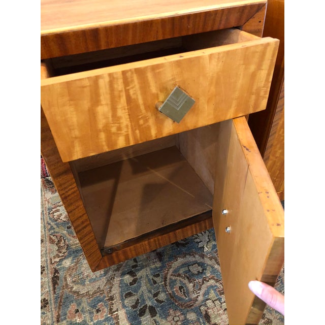 Mid 20th Century Mid Century Art Deco Night Stands W Movingui Wood Vaneer - a Pair For Sale - Image 5 of 13