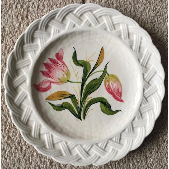 Italian Italian Faience Hand-Painted Tulip Plates-Set 8 For Sale - Image 3 of 13