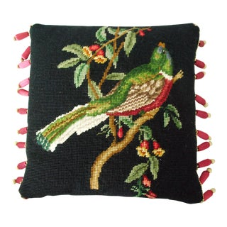 Vintage Bird Needlepoint and Petit Point Pillow For Sale