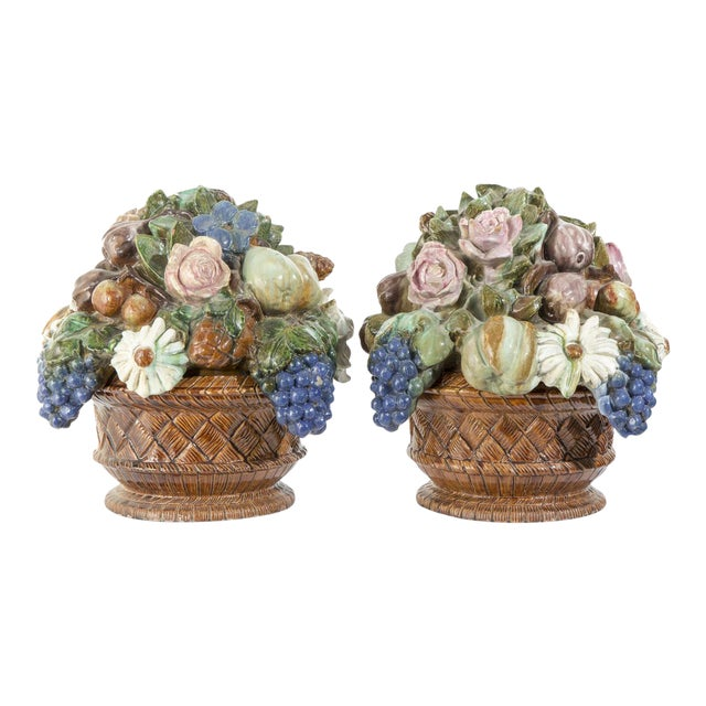 Antique French Sarreguemines Majolica Tureens - A Pair For Sale