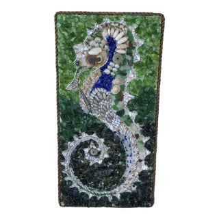 Vintage 1965 Seahorse and Seashell Art For Sale
