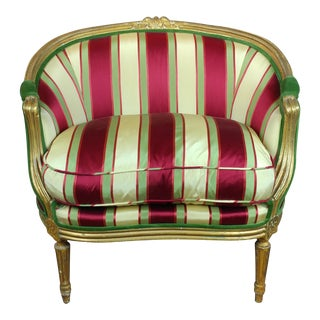 19th c. Louis XV Bergere Chair w/Red & Yellow Striped Upholstery For Sale