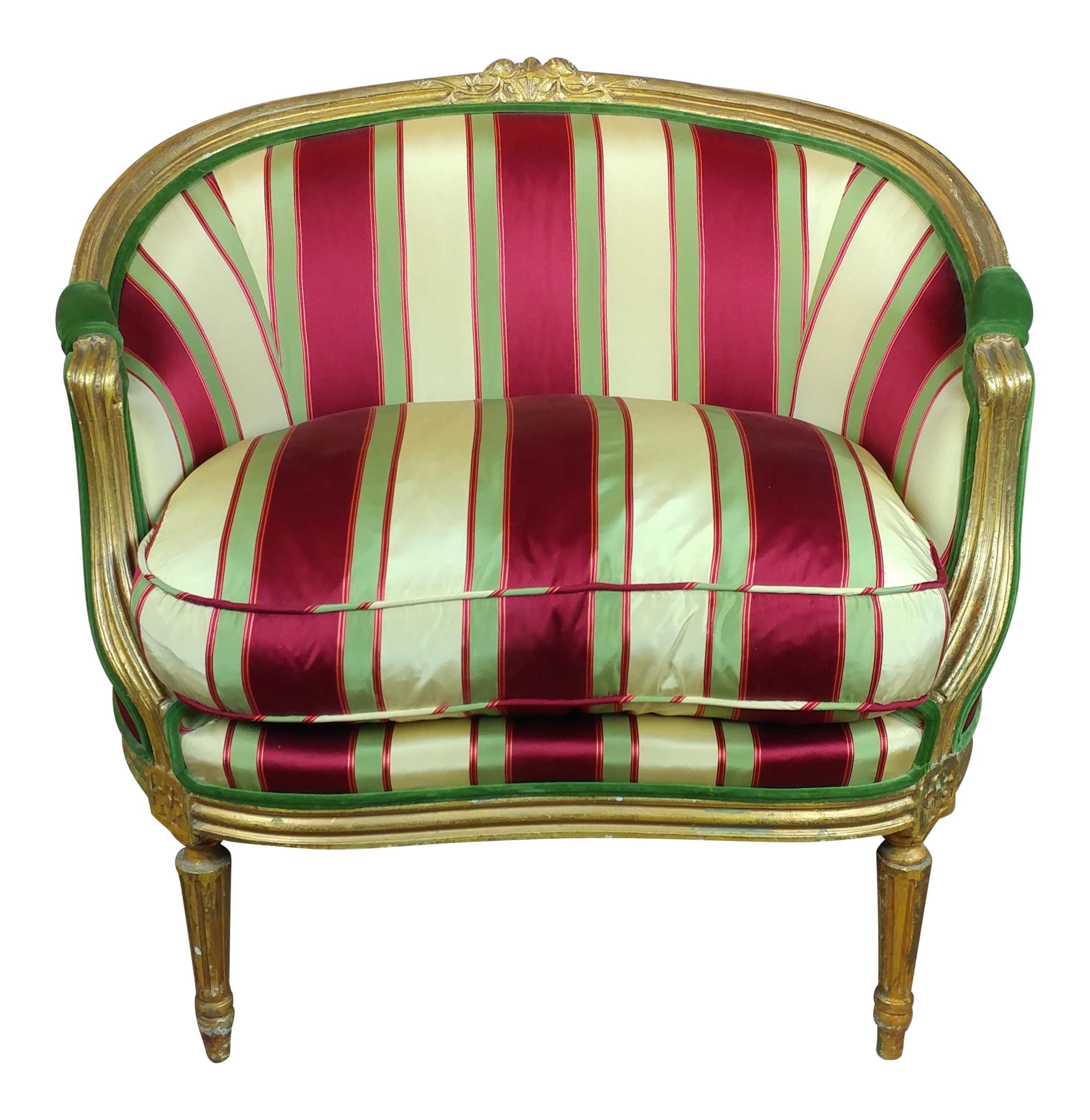 Louis XV Bergere Chair W/Red U0026 Yellow Striped Upholstery   Image