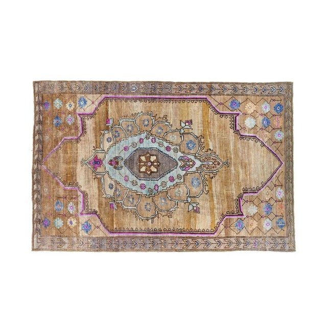 Textile Vintage Brown Turkish Area Rug 6' X 10' For Sale - Image 7 of 7
