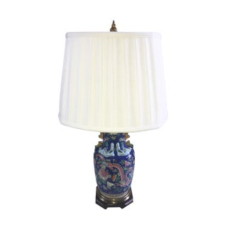 Asian Style Cobalt Blue Ceramic Ginger Jar Lamp