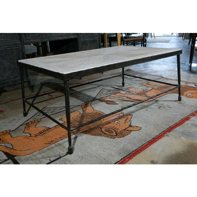 Customizable Paul Marra Textured Iron and Wood Coffee Table - Image 5 of 9