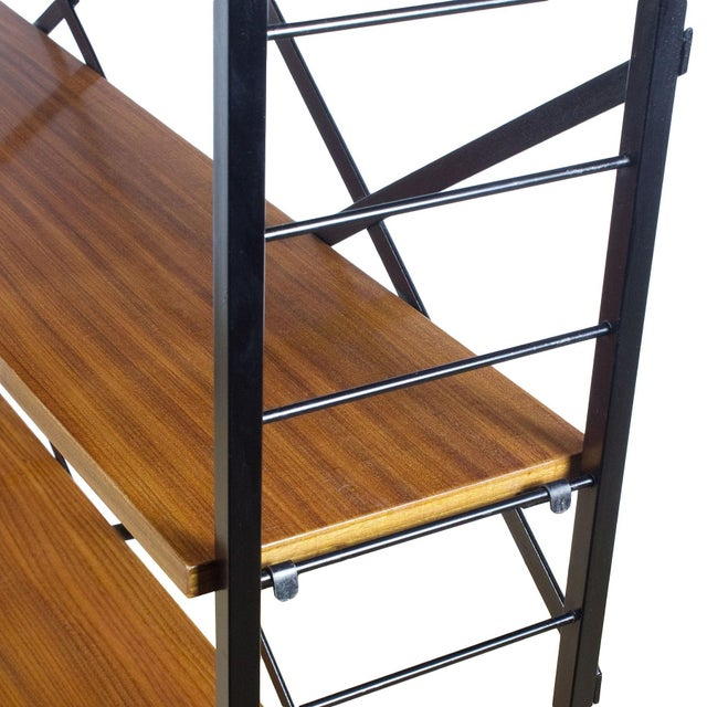 Metal 1950s Pair of Small Bookcases, Blackened Steel, Mahogany Shelves, Brass, Italy For Sale - Image 7 of 9