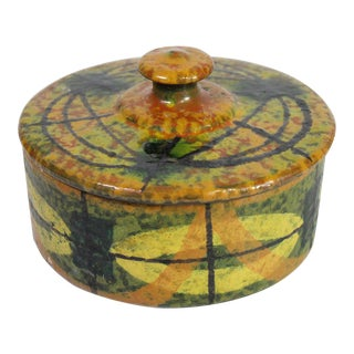 1960's Mid-Century Bitossi Abstract Modernist Earthenware Lidded Pottery For Sale