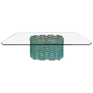 Danny Lane Attr. Tinted Glass Coffee Table For Sale