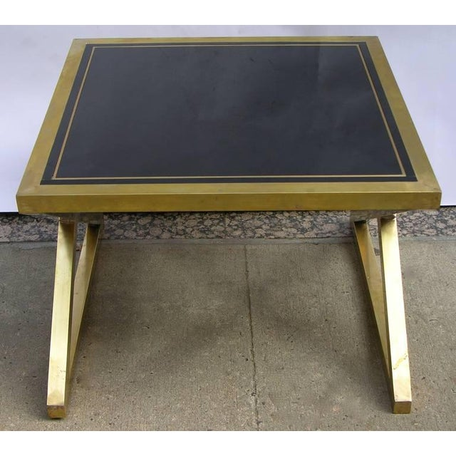 Metal Italian Modern X-Frame Handcrafted Bronze and Black Low Coffee Tables - a Pair For Sale - Image 7 of 11