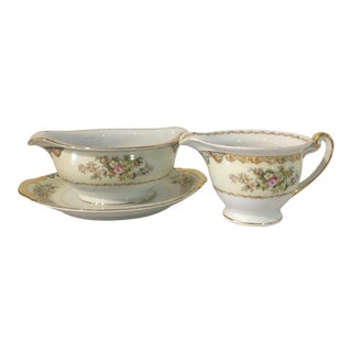 Meito Fine China Langdon Gravy Boat and Creamer - 2 Pieces For Sale