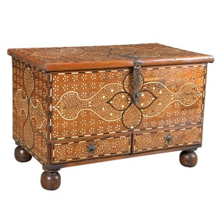 Wooden Inlay Trunk Table